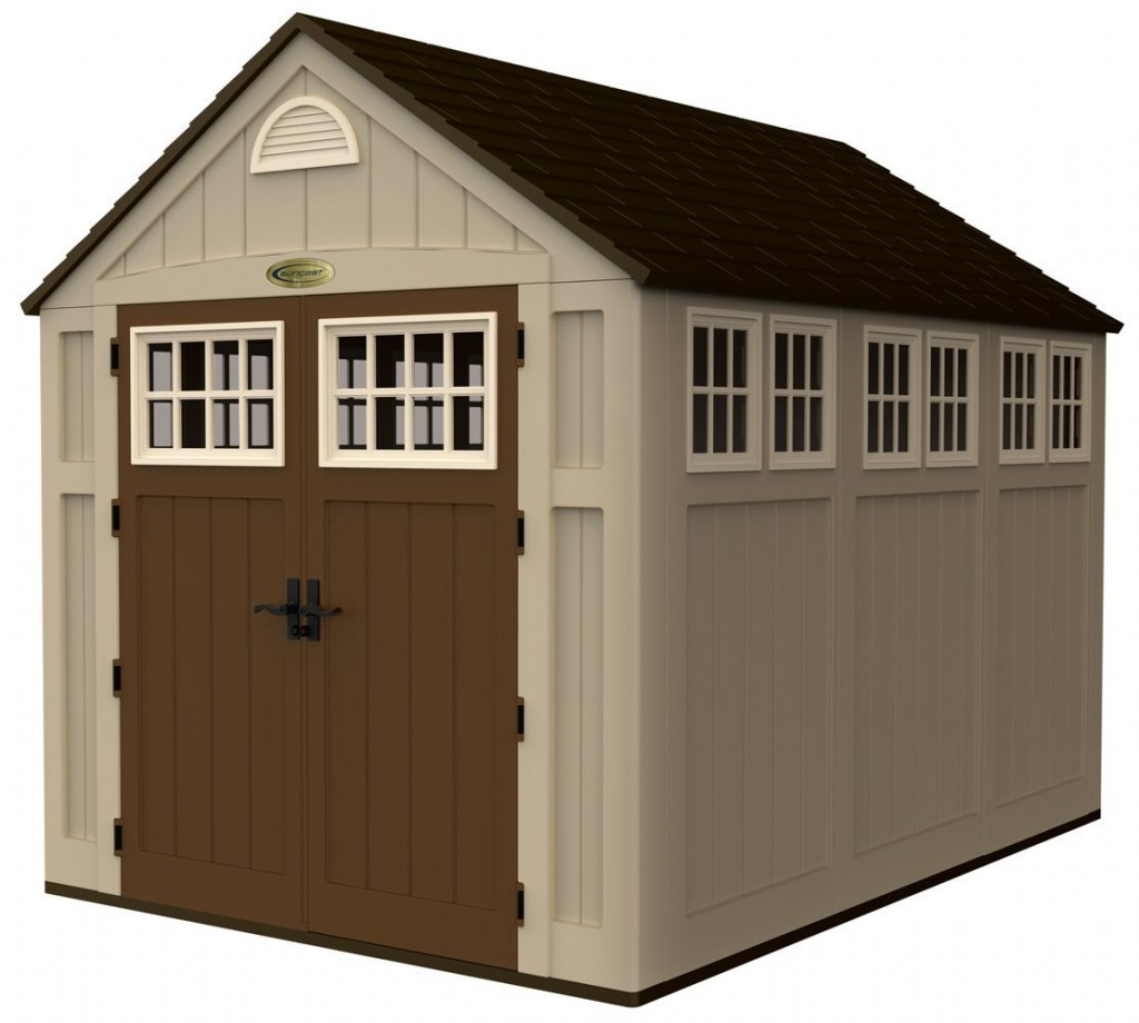 The Suncast 7 1/2 feet by 10 1/2 feet storage shed features 1 1/2 ...